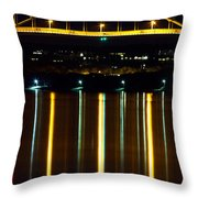 Bourne Bridge At Night Cape Cod Throw Pillow