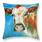 Bovine On Blue  Throw Pillow