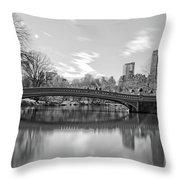 bow bridge central park N Y C Throw Pillow