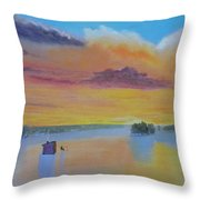 Bow Lake Ice Fishing Throw Pillow