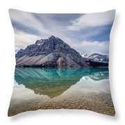 Bow Lake Reflection From Num-ti-jah Lodge  Throw Pillow