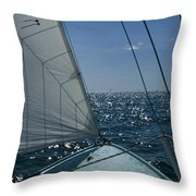 Bow Of A Sailboat Under Sail Throw Pillow