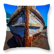 Bow Of Old Worn Boat Throw Pillow