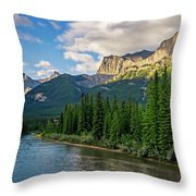 Bow River And Three Sisters Canmore Throw Pillow