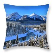 Bow River Parkway Blue Skies Throw Pillow