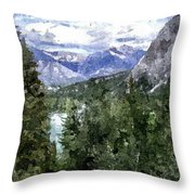 Bow River Valley In The Canadian Rockies Throw Pillow