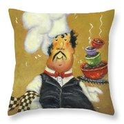 Bow Tie Chef Four Bowl Throw Pillow