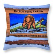 Bow Valley Parkway Snowy Entrance Throw Pillow
