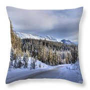Bow Valley Parkway Winter Scenic Throw Pillow