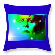 Bowie In Blue Throw Pillow