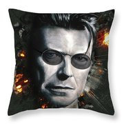 Bowie With Glasses Throw Pillow