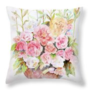 Bowl Full Of Roses Throw Pillow by Arline Wagner