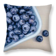 Bowl Of Fresh Blueberries Throw Pillow