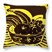 Bowl Of Fruit Black On Yellow Throw Pillow