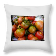 Bowl Of Heirloom Tomatoes Throw Pillow