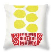Bowl Of Lemons- Art By Linda Woods Throw Pillow