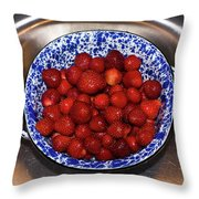 Bowl Of Strawberries 1 Throw Pillow by Douglas Barnett