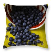 Bowl Pouring Out Blueberries Throw Pillow