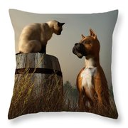Boxer And Siamese Throw Pillow by Daniel Eskridge