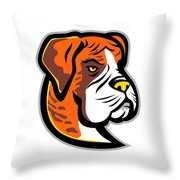 Boxer Dog Mascot Throw Pillow