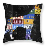 Boxer Dog Pet Owner Love Vintage Recycled License Plate Artwork Throw Pillow