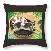 Boxer Hound Cross Dogs Plants Animals Cathy Peek Throw Pillow