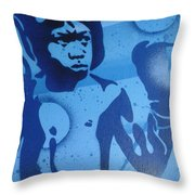 Boxer In Blue Throw Pillow