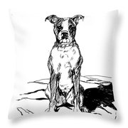 Boxer In The Dirt Throw Pillow