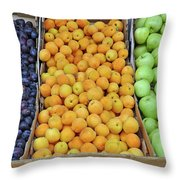 Boxes Of Fruit Throw Pillow
