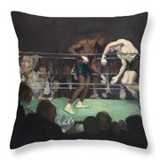Boxing Match Throw Pillow by George Luks