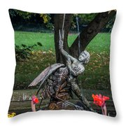 Boy And Bird Throw Pillow