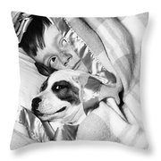 Boy And Dog Hiding Under Blanket Throw Pillow