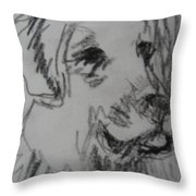 Boy And Dog Under Sky Throw Pillow
