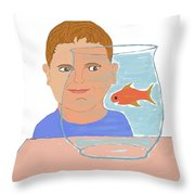 Boy And Fish Throw Pillow
