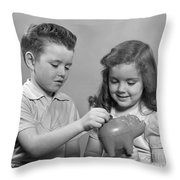 Boy And Girl Putting Money Into Piggy Throw Pillow