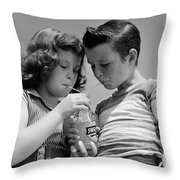 Boy And Girl Sharing A Soda, C.1950s Throw Pillow