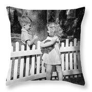 Boy And Girl Talking Over Fence, C.1940s Throw Pillow