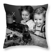 Boy And Girl With Train Set, C.1950s Throw Pillow