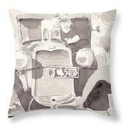 Boy And His Dog On An Old Car Throw Pillow