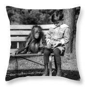 Boy And Orangutan Throw Pillow