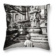 Boy At Statue In Sicily Throw Pillow