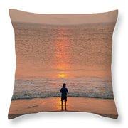 Boy At Sunrise Throw Pillow