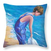 Boy At The Beach Throw Pillow