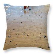 Boy Beach Truck Throw Pillow