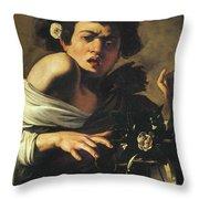 Boy Bitten By A Lizard, 1596 To 97 Throw Pillow