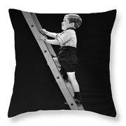Boy Climbing Tall Ladder, C.1930s Throw Pillow