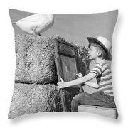 Boy Drawing Duck, C.1950s Throw Pillow