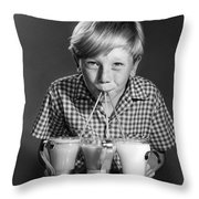 Boy Drinking Three Shakes At Once Throw Pillow