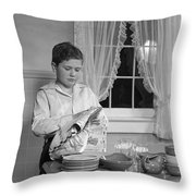 Boy Drying Dishes, C.1950s Throw Pillow
