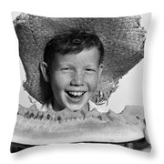 Boy Eating Watermelon, C.1940-50s Throw Pillow